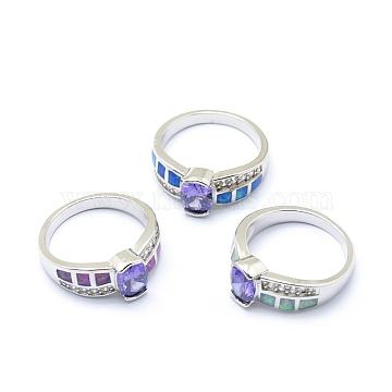 Mauve Brass+Cubic Zirconia Finger Rings