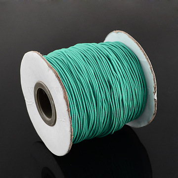 Round Elastic Cord, with Nylon Outside and Rubber Inside, LightSeaGreen, 0.8mm; about 100m/roll(EC-R001-0.8mm-034A)