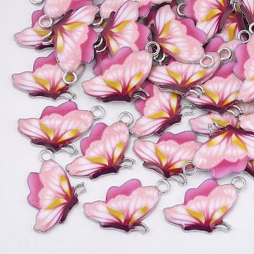 Printed Alloy Pendants, with Enamel, Butterfly, Platinum, Pink, 24.5x16x2mm, Hole: 2mm(X-PALLOY-R111-24C)