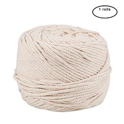 Cotton String Threads for Jewelry Making, Macrame Cord, NavajoWhite, 4mm; 100m/roll(OCOR-WH0009-C01-4mm)