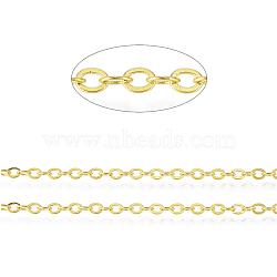 chaînes de câble ovales plates en laiton, non soudée, avec du papier cartonné, sans cadmium et sans nickel et sans plomb, or, 3.3x2.6x0.5 mm(X-CHC025Y-01-G)