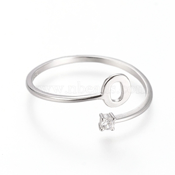 925 Sterling Silver Cuff Rings, Open Rings, with Cubic Zirconia, Platinum, Clear, Letter.O, Size 7, 17mm; letter O: about 5x4.5x0.8mm.(STER-D033-01O-P)