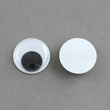 Black & White Wiggle Googly Eyes Cabochons DIY Scrapbooking Crafts Toy Accessories, Black, 16x4mm(X-KY-S002-16mm)