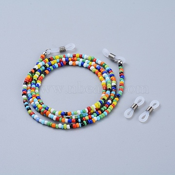 Eyeglasses Chains, Neck Strap for Eyeglasses, with Glass Seed Beads, Brass Crimp Beads and Rubber Loop Ends, Colorful, 30.7 inches(78cm)(X-AJEW-EH00007-06)