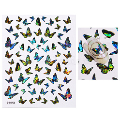 Nail Art Stickers Decals, Self-adhesive, For Nail Tips Decorations, 3D Design, Butterfly, Colorful, 125x70mm(X-MRMJ-R067-05F)
