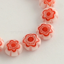 Handmade Millefiori Glass Bead Strands, Flat Round, Red, 8x4mm, Hole: 1mm, about 50pcs/strand, 15.3 inches(X-LK-R006-16H)