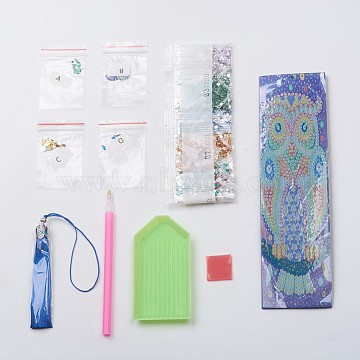 Owl DIY Diamond Painting Bookmarks, with Tray Plate, Drill Point Nails Tools, DIY Tassel Bookmark Gift, for Embroidery Arts Crafts, Mixed Color(DIY-WH0163-80)