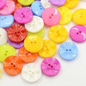 Acrylic Sewing Buttons, Plastic Buttons for Costume Design, 2-Hole, Dyed, Flat Round, Mixed Color, 15x3mm, Hole: 0.5mm(X-BUTT-E073-C-M)
