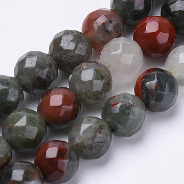 Natural African Bloodstone Beads Strands, Heliotrope Stone Beads, Faceted, Round, 8mm, Hole: 1.2mm; about 45pcs/strand, 15.3inches(G-S281-21-8mm)