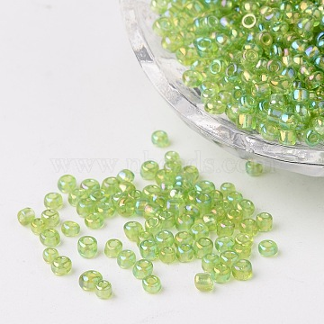 Round Trans. Colors Rainbow Glass Seed Beads, Green Yellow, Size: about 3mm in diameter, hole: 1mm; about 1102pcs/50g(X-SEED-A007-3mm-164)