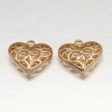 Heart Light Gold Rack Plating Brass Hollow Pendants, 17x18x7mm, Hole: 2mm(X-KK-L147-076)