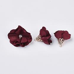 Украшения из ткани ручной работы, со сплавочной фурнитурой, цветок, бортовые, 24~26x24~25 мм, отверстие : 2 мм(FIND-063-01N)