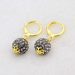 Pendantes rondes résine de balle boucles d'oreilles strass, avec boucles d'oreilles créoles en laiton doré, diamant noir, 30mm, pin: 1 mm(EJEW-J080-12G)