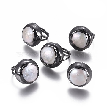 Adjustable Pearl Rings, with Brass Findings, Flat Round, Gunmetal, Size 6, 16mm(RJEW-K229-E01)