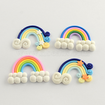Handmade Polymer Clay Cabochons, Rainbow, Mixed Color, 36x47~50x5~6mm(X-CLAY-Q220-16)