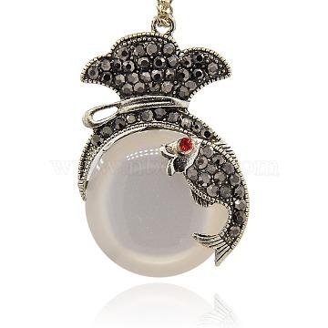 Antique Silver Plated Alloy Micro Pave Hematite Rhinestone Pendants,  Half Round Cat Eye Pendants, Coin Purse with Carp Fish, WhiteSmoke, 43x28x9mm, Hole: 1.5mm(PALLOY-J270-01AS)