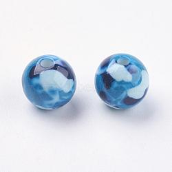 Perles en résine, rond, dodgerblue, 11~12mm, Trou: 2mm(RESI-E009-12mm-03)