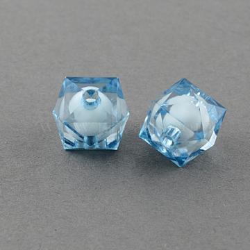 10mm SkyBlue Cube Acrylic Beads