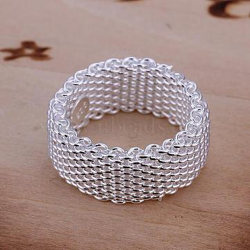 Fashionable Brass Mesh Finger Rings For Women, Silver Color Plated, US Size 8(18.1mm)(RJEW-BB13216-8)