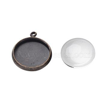 Pendant Making Sets, with Brass Pendant Cabochon Settings and Glass Cabochons, Flat Round, Nickel Free, Antique Bronze, Tray: 12mm; 17x14x2mm, Hole: 1.5mm; 11.5~12x4mm(DIY-X0288-11AB-NF)