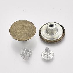 Fer boutons de jeans, Accessoires de vêtement, plat rond, bronze antique, 17x7.5mm, trou: 1.8 mm; broche: 7.5x8 mm; bouton: 2.5 mm; 2 pièces / ensemble(BUTT-Q044-01AB)