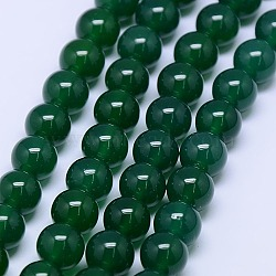 Natural Agate Round Beads Strand, Dyed, Green, 10mm, Hole: 1mm; about 38pcs/strand, 15.74