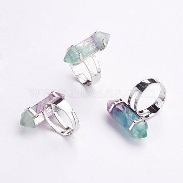 Natural Fluorite Finger Rings, with Iron Ring Finding, Size 8, Platinum, 18mm(X-RJEW-P120-A04)