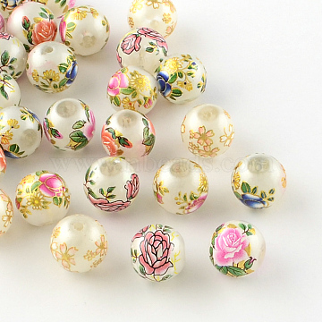 Rose Flower Pattern Printed Round Glass Beads, Imitation Pearl Beads, Mixed Color, 10x9mm, Hole: 1.5mm(X-GFB-R005-10mm-A)