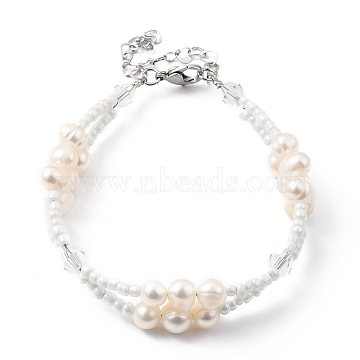 Multi-strand Bracelets, with Glass Seed Beads, Natural Pearl Beads, Glass Beads and 304 Stainless Steel Lobster Claw Clasps, White, 7-5/8 inches(19.5cm)(BJEW-JB05492-02)