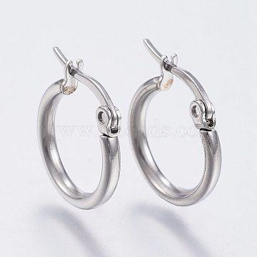 (Same Sku: EJEW-A052-19H-P) 304 Stainless Steel Hoop Earrings, Hypoallergenic Earrings, Stainless Steel Color, 12 Gauge, 14~16x2mm; Pin: 0.7x1mm(X-EJEW-F105-12P)
