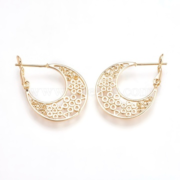 Brass Hoop Earrings, Nickel Free, teardrop, Real 18K Gold Plated, 31x22x5mm, Pin: 0.7mm(EJEW-P160-04G-NF)