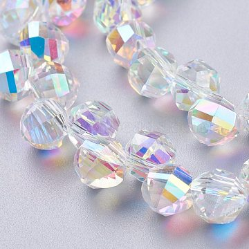 Glass Imitation Austrian Crystal Beads, Faceted Round, Clear AB, 7mm, Hole: 1mm(GLAA-O019-01)