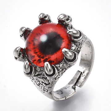 Adjustable Alloy Glass Finger Rings, Wide Band Rings, Dragon Eye, Antique Silver, Red, Size 8, 18mm(RJEW-T006-03D)