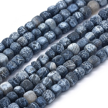 5mm Black Cube Weathered Agate Beads