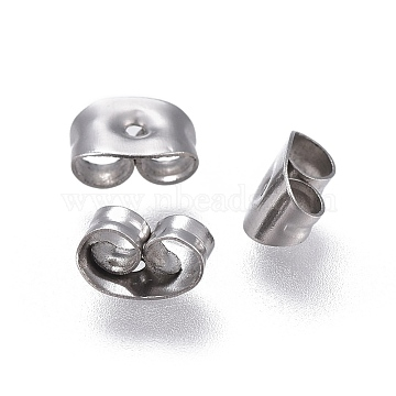 304 Stainless Steel Ear Nuts, Earring Backs, Stainless Steel Color, 6x4.5x3mm, Hole: 0.8mm(STAS-F203-04P)