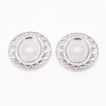 Alloy Cabochon Settings, DIY Material for Hair Accessories, Flat Round, Platinum, Tray: 40x30mm; 63x63x2mm(X-PALLOY-A15635-N)