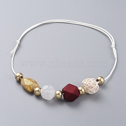 colliers à bretelles réglables, avec des perles acryliques, perles de canne tissées à la main et cordon en polyester ciré, rouge, 15.7 26.7 cm)(NJEW-JN02594-02)