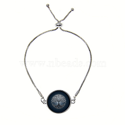 """Bracelets réglables en alliage de zinc et verre, bracelets bolo, avec des chaînes de fer, plat et circulaire avec arbre de vie, darkslategray, 9"""" (23 cm)(BJEW-P250-SE029)"""