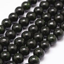 Chapelets de perles en pierre d'or verte synthétique, teints et chauffée, rond, 12mm, Trou: 1.2mm(G-N0178-02-12mm)