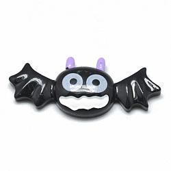 Resin Cabochons, Halloween Bat, Black, 16x39x6mm