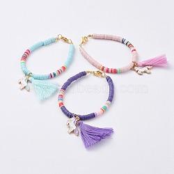 """Bracelets pour enfants faits main en pâte polymère, avec pompons en fil de coton et pendentifs en alliage émaillé, licorne, or, couleur mixte, 6-1/4"""" (16 cm), 4mm(BJEW-JB04773-M)"""
