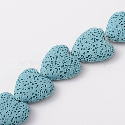 """Chapelets de perles de lave synthétique, cœur, teint, bleu clair, 20x20x7mm, trou: 1mm; environ 20 pcs/chapelet, 15.3""""(G-N0114-14)"""