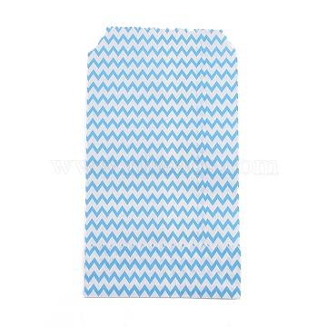 White Kraft Paper Bags, No Handles, Storage Bags, Wave Pattern, Wedding Party Birthday Gift Bag, Light Sky Blue, 15x8.3x0.02cm(CARB-I001-03G)