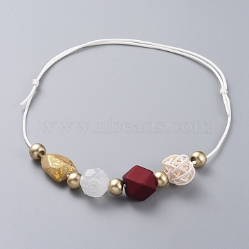 Adjustable Bib Necklaces, with Acrylic Beads, Handmade Cane Woven Beads and Waxed Polyester Cord, Red, 15.7 inches~26.7 inches(40~68cm)(NJEW-JN02594-02)