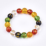 Natural Agate Mala Bead Bracelets, Buddhist Jewelry, Stretch Bracelets, Round with Om Mani Padme Hum, Colorful, 2-1/8 inches(5.5cm)