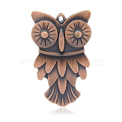 Nickel Free & Lead Free Red Copper Tibetan Style Alloy Owl Big Pendants for Halloween, Long-Lasting Plated, 70x42x4.5mm, Hole: 2mm