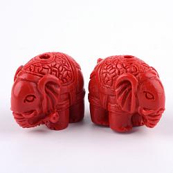 Cinnabar Beads, Elephant, FireBrick, 18x22.5x12.5mm, Hole: 2mm(X-CARL-Q004-81)