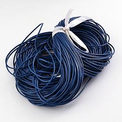 cordon de cuir de vachette , cordon en cuir de bijoux, bricolage bijoux matériau de fabrication, arrondir, teints, bleu, 1.5 mm(X-LC-1.5MM-04)