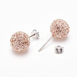 Cadeaux pour ses Saint Valentin sterling boucles d'oreilles strass cristal autrichien balle généalogiques pour fille, rond, 391 _silk, 17x8mm(Q286H201)