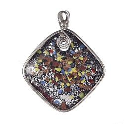 pendentifs chalumeau à la main, sable d'or et millefiori, avec les résultats en laiton plaqué de platine, losange pendentifs, coloré, 64x52x10 mm, trou: 4x5 mm(PALLOY-J356-05B)